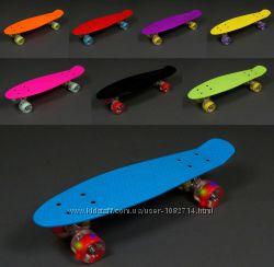 Скейт Пенни Борд, длина доски 55 см. Колеса БЕЗ Света. Много цветов