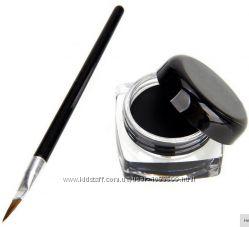 Гель подводка для глаз черная водостойкая,  кисточка