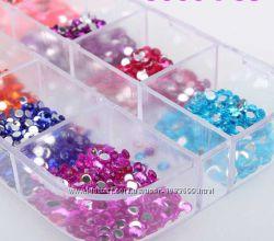 Стразы для ногтей круглые, ленты, наклейки, декор ногтей