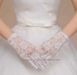 Свадебные перчатки с пальцами кружевные, до запястья, короткие