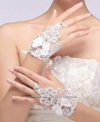 Перчатки свадебные кружево белый айвори слоновая кость