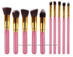 Кисти для макияжа набор 10 шт розовый синтетический ворс дерево