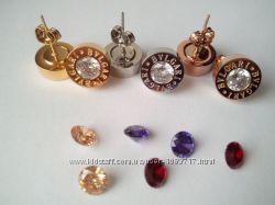 Женские серьги Bvlgari булгари с сменными камнями копия4камня в комплекте