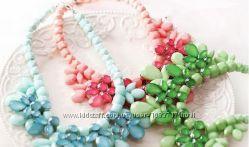 Колье ожерелье американка зеленое розовое