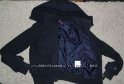пальто застежка клевант темно-синее короткое деми курточка