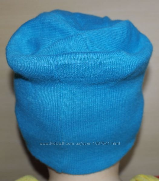 бирюзовая шапка бини плотная ровная вязка