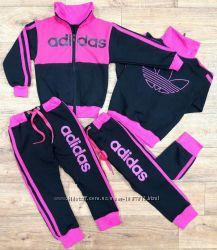Детский Спортивный Костюм Adidas Двойка Малина без капюшона Рост 80-110 см