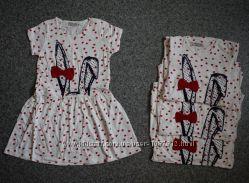 Модное Трикотажное Платье для Девочки Зайка Белое Рост 98-122 см