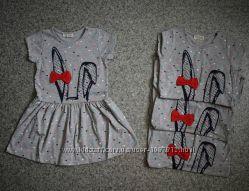 Модное Трикотажное Платье для Девочки Зайка Серое Рост 98-122 см