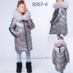 34a51ad53243 New Зима 2018-2019 Куртка для девочки с натуральным мехом песца р. 116-