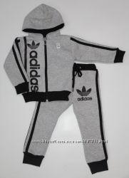Детский Тёплый спортивный костюм-двойка Адидас серый рост 80-140 см
