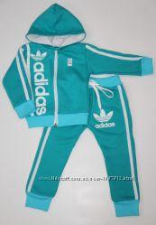 Детский Тёплый спортивный костюм-двойка Адидас бирюзовый рост 80-140 см
