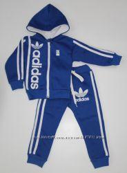 Детский Тёплый спортивный костюм-двойка Адидас синий рост 80-140 см