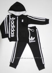 Детский Тёплый Спортивный костюм-двойка Адидас чёрный рост 80-140 см