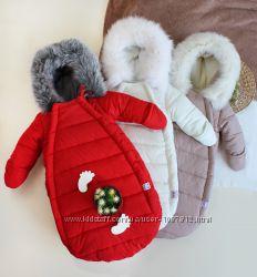 Зимний Конверт-комбинезон с ручками Jingle bells Красный и Белый 0-6 мес