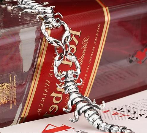 Эксклюзивный мужской браслет Двойной скорпион 21 см.  Серебро