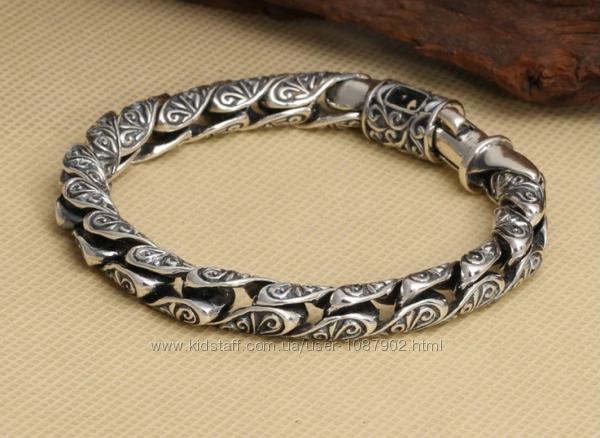 Мужской серебряный браслет Серпантин 8 мм. 52 гр. 22 см.