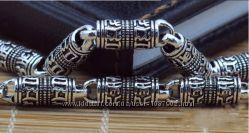 Серебряная цепочка c мантрами 6 мм. 44, 6 гр. 60 см