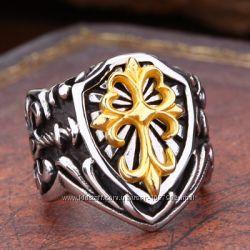 Мужское байкерское кольцо сталь 316L позолота Флер - де - лис