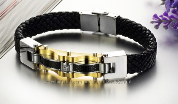 Мужской кожаный браслет сталь 316L позолота карбон
