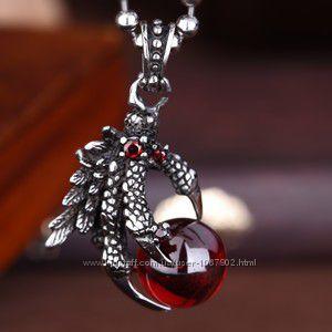 Кулон сталь 316L Когти Дракона Черный сердце и цепочка