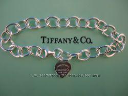 женский серебряный браслет сердце Tiffany Co оригинал 1880 грн