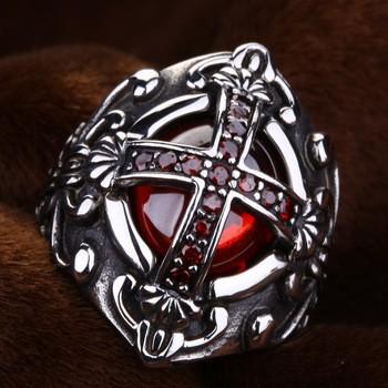 Мужское кольцо перстень сталь 316L Крест Флер де Лис
