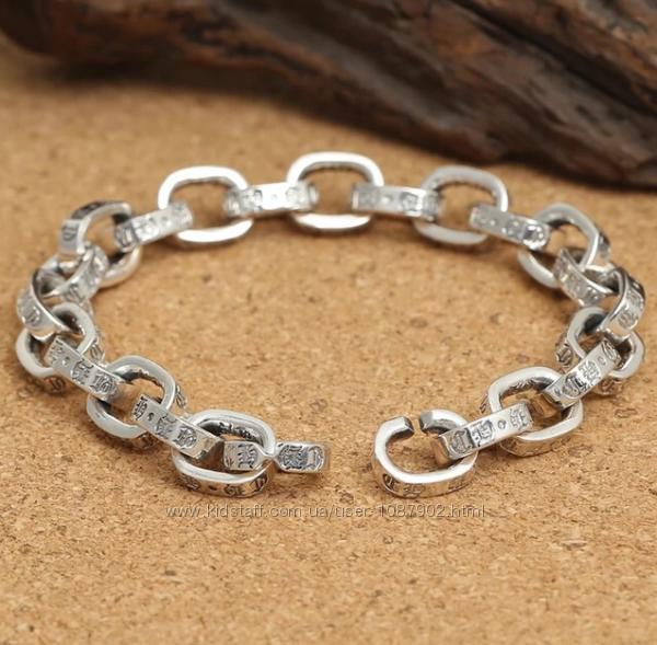 Мужской серебряный браслет Якорь Chrome Hearts 22 см 10 мм