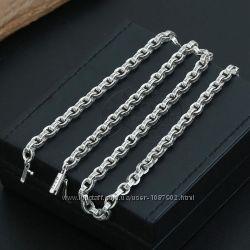Мужская серебряная цепочка цепь Chrome Hearts 60 см 5 мм
