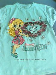 Новая футболочка для девочки 6 лет, рост 116-122см