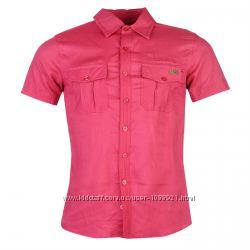 Рубашка мужская Lee Cooper Оригинал Лён Красный цвет 46р 165-170см