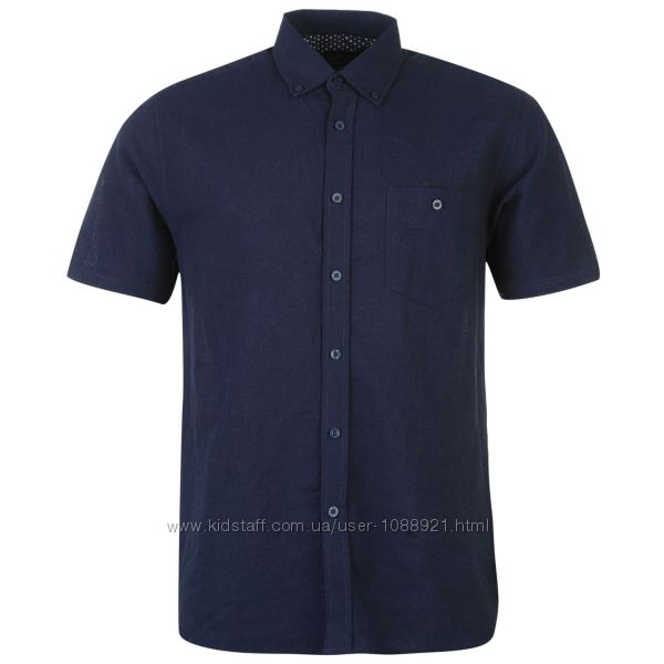 Рубашка мужская Pierre Cardin Оригинал S 46-48Ru Лён Синий Цвет