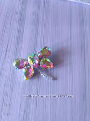 Брошь стрекоза хамелеон разноцветная хрустальная
