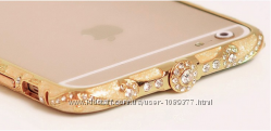 Зеркальный золотой бампер с ободами iphone 5 5S 6 6S тонкий