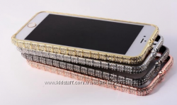 Серебряный бампер для iphone 6 6S Swarovski