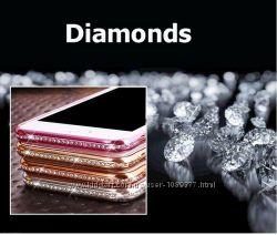 Чехлы силиконовые с камнями Свровски для iphone 7 7s