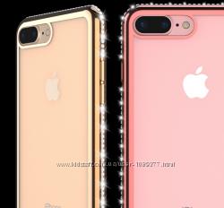 Прозрачный чехол с ободком и камнями Сваровски для Iphone 5 5S 6 6S 7 7плюс