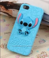 Голубой силиконовый чехол Ститч для Iphone 4 4S 5 5S