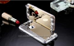 Силиконовый зеркальный Золотой и серебряный чехол с камням iphone 5 5S 6 6S