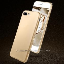 Мягкий женский чехол с камнями Сваровски для iPhone 6 6S 7плюс 8плюс