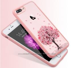 Чехол прозрачный с деревомрозовый ободок силикон для IPhone 7 8 7pl 8pl
