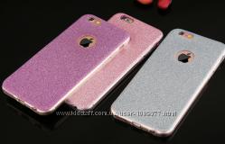 Блестящий силиконовый чехол для iPhone 6 6S золотой серебряный розовый фиол