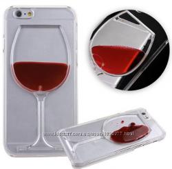 Прозрачная Накладка Бокал вина для iPhone  5 5S 6 6S 7 8 7pl 8pl X XS