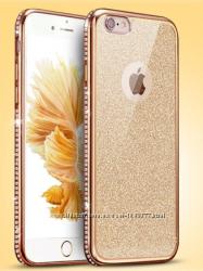 Двойной золотой и прозрачный силиконовый чехол для iphone 6 6s золотой