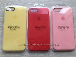 Силиконовый чехол для iphone 7plus 8plus красный розовый желтый в упаковке