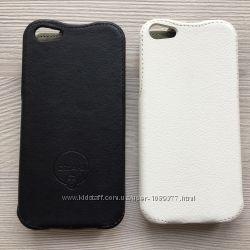 Чехол книжечка для Iphone 5 5S черная или белая вертикальное открывание
