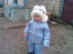 Зимний комбинезон на овчине и шапка