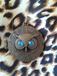 Стильный кулон на шею сова медальон бронза под бронзу
