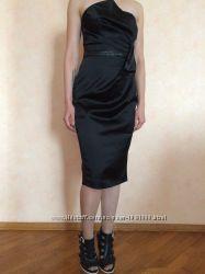 Вечернее шикарное вамп черное платье Oasis оригинал 34 S XS на выпускной