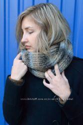 Вязаный теплый шарф-хомут снуд ручной работы